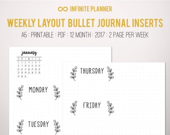 Weekly Layout, 2 page, 12 Month, (2017) - Bullet Journal Printable