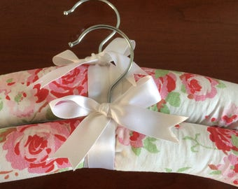 Padded coathangers x 2 Pink and white cotton cath kidston fabric