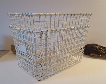 Vintage metal locker storage basket.