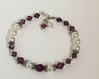 Amethyst (Purple) Swarovski Jewel and Pearl Bracelet, Gifts for Her, Swarovski Crystal Bracelet, Bridesmaid, Wedding
