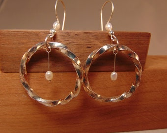 Sterling Silver Twist Circle Earrings with Pearl Accents