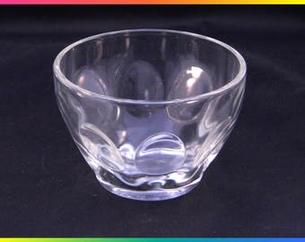 Vintage Small Clear Glass Bowl/Sherbet or Ice Cream Dish/Custard Cup with Thumbprint Design