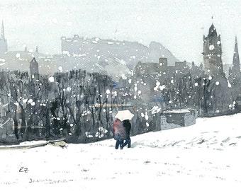 High Quality Print - Winter On Calton Hill