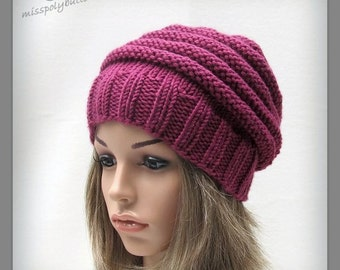 Berry colored slouchy knit hat, womens slouch hat in a chunky knit, hand knitted winter accessory