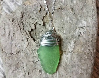 Sea Glass Wire Wrapped Pendant Necklace