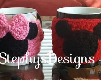 Minnie & Mickey mouse inspired Mug Cozy set