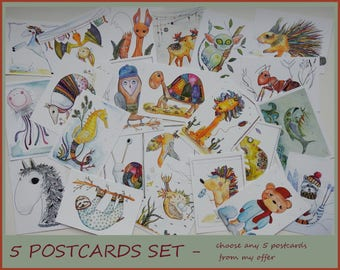 Postcards Set - Cards for Postcrossing - Animal Postcards - Funny Postcards - Set of Cards - Postcrossing - Cute Postcards - Small Cards -