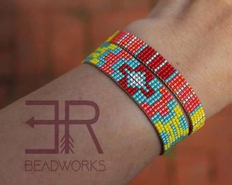 Wide Native American Inspired Beaded Bracelet