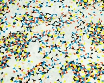 Viscose fabric Celine triangles white yellow coloured digital print (10.90 EUR / meter)