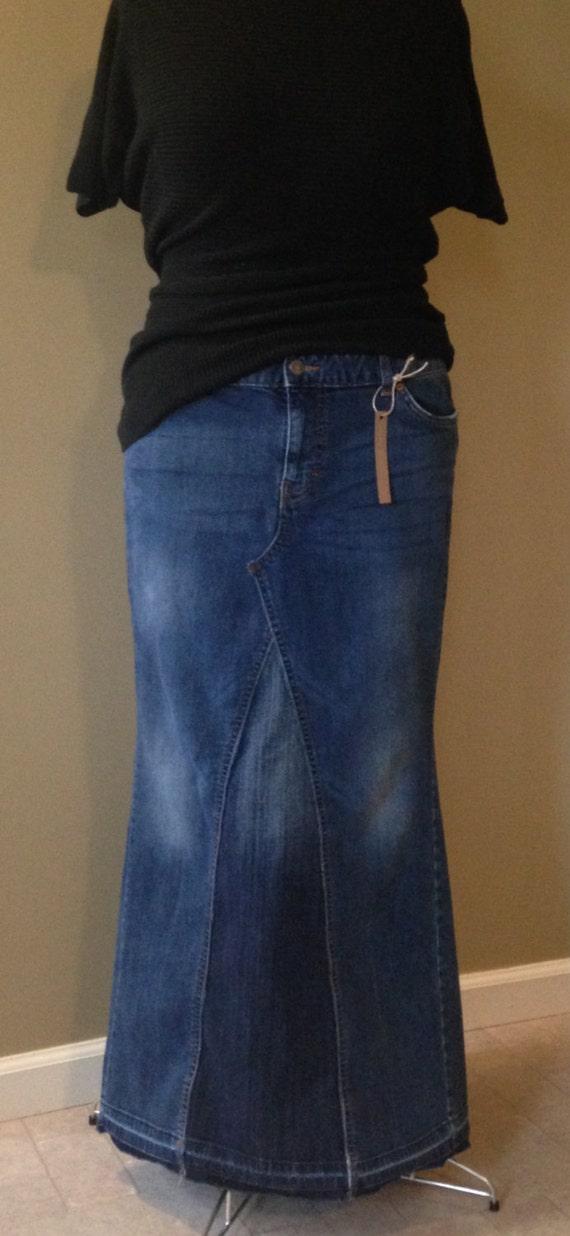 upcycled denim jean skirt size 18