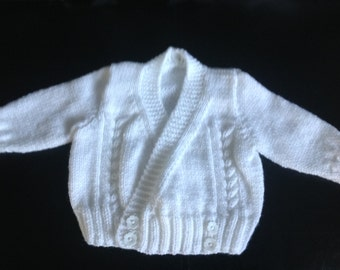 Any colour Handknitted baby girl toddler crossover wrap cardigan jacket