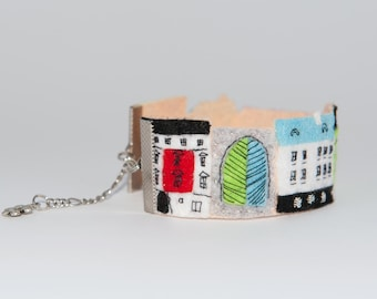 felted bracelet, bright colors bangles, colorful houses, hand embroidery, bright bracelet