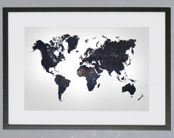 Map of the world Galaxy space space gift image map poster A4