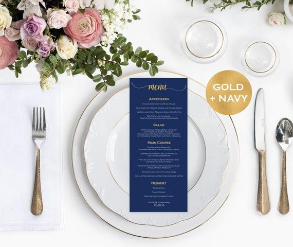 Menu Card Template Navy Blue Wedding Menu Printable Navy Calligraphy Wedding Downloadable Wedding #WDH8757123