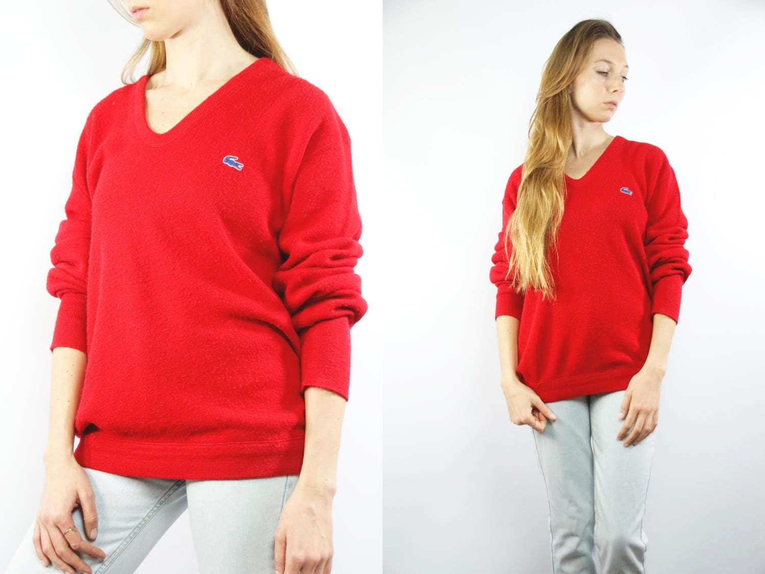 LACOSTE Izod Sweater / Vintage Lacoste Jumper / Red Lacoste