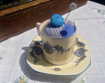 Teacup Pin Cushion, Vintage Tea Cup Pincushion, Sewing Supplies, Sewing, Crafting, Stocking Filler