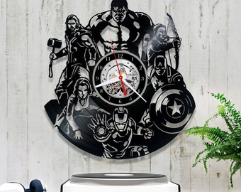 The Avengers Vinyl Clock/Marvel Comics Clock 0/7/9/Wall Vinyl Clock/Wall Record Clock/Iron Man Clock/Captain America/Thor/Iron Man