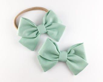 Baby, Toddler, Girls Fabric Bow Headband or Hair Clip  -  Robins Egg Blue Bow, Nylon Bow Headband, Bow Hair Clip, Spring Bow