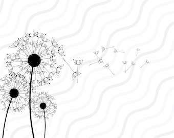 Dandelion SVG, Floral SVG, Dandelion Silhouette SVG Cut table Design,svg,dxf,png Use With Silhouette Studio & Cricut_Instant Download