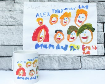 Childs drawing - personalised mug - childrens picture - kids painting on a mug - gift for grandparents - fathers day gift - gift for Dads