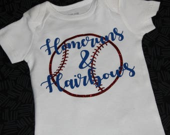 HOMERUNS & HAIRBOWS BODYSUIT | Girls Baseball Outfit | Glitter | Team Colors