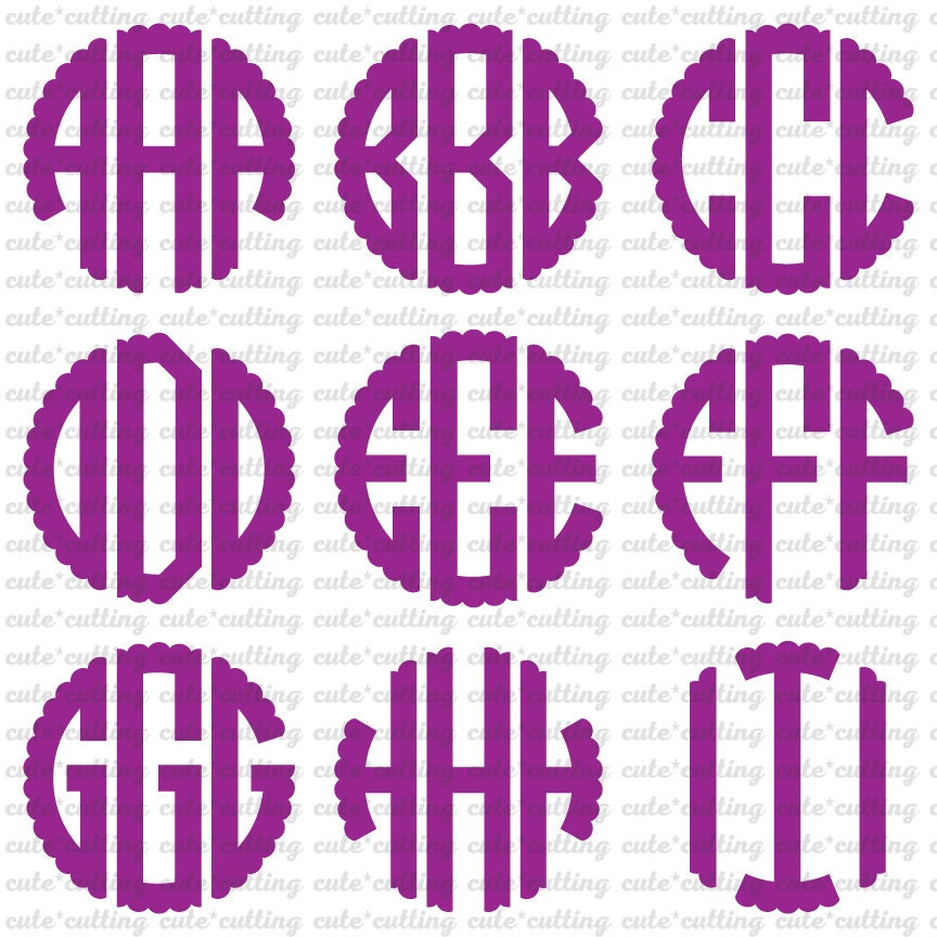 scalloped circle monogram font svg  initials svg  letters alphabet svg dxf jpeg cutting files