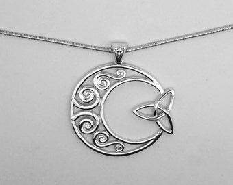 Celtic crescent moon pendant