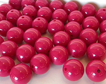 18mm Gumball Beads // Dark Pink Beads // Red Violet Chunky Round Beads // Wholesale Large Acrylic Beads // Cherise Pink Gum Ball Beads