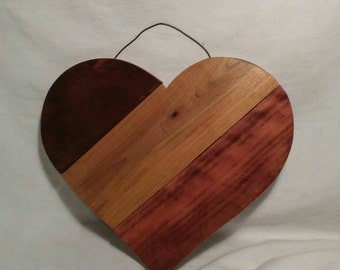 Tri Toned Stained Heart Wall Plaque