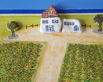 "Painted stones Pebble Stone Art ""Countryside"""
