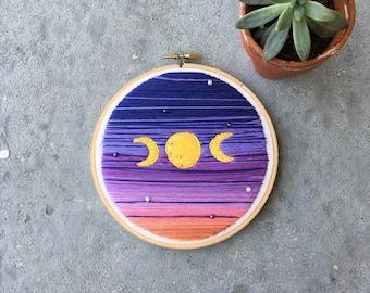 """6"""" Magical Moon Embroidery Hoop Wall Art"""