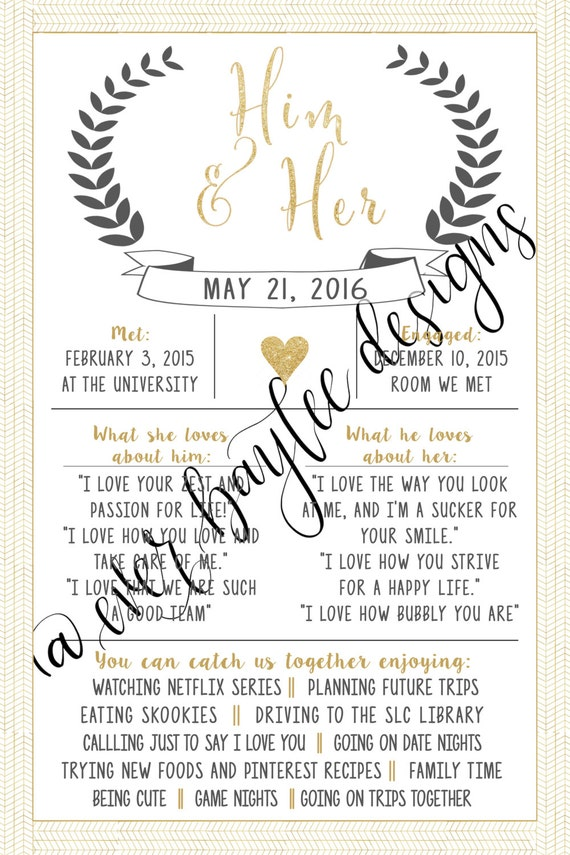 Him & Her Customizable Wedding Sign