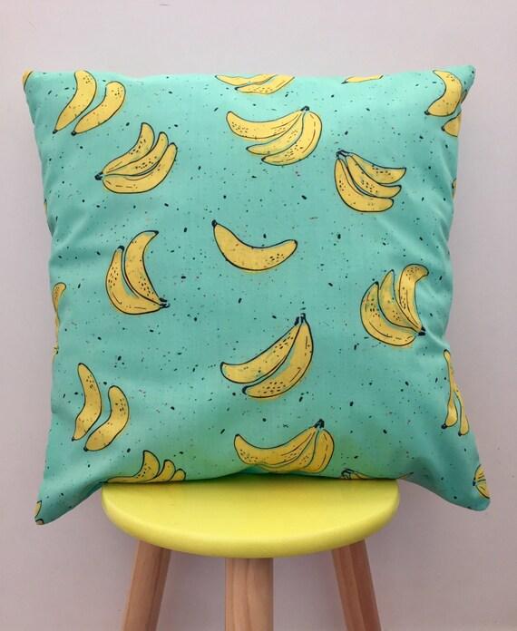 Going bananas cushion cover. Blue, yellow sprinkles 45cm x 45cm