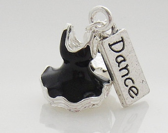 Black 3D Ballet Tutu and Dance Tag Charm fit Clip On Charm Bracelet (C042BK/C181)