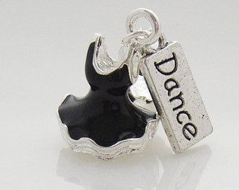 Black 3D Ballet Tutu and Dance Tag Charm fit European Charm Bracelet