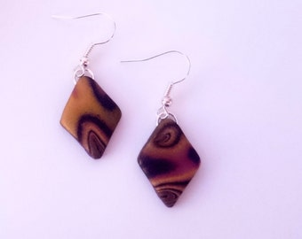 Diamond dangle earrings_unique handmande mokume gane polymer clay jewellery