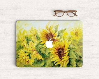 Sunflower Watercolor Sticker Skin Vinyl Decal for MacBook Laptop K0439