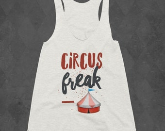 Circus Freak Red & Blue Racerback Aerial Lyra Pole Tank - White