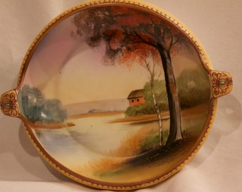 Antique Nippon Hand Painted Bowl with Handles from the early 1900's