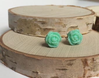 Druzy Rose Earrings - Mint Green - 10mm