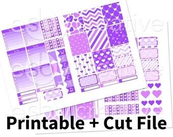 Purple Hearts - Weekly Sticker Kit Printable for Erin Condren Horizontal - HWK-002 - INSTANT DOWNLOAD