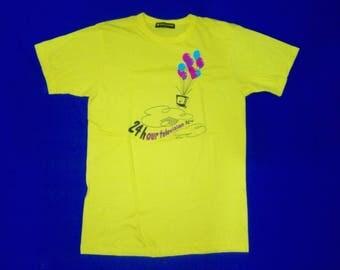FREE SHIPPING!!!   Vintage Japan ARASHI 24 hour television yellow t-shirt Ohno Satoshi x Kusama Yayoi