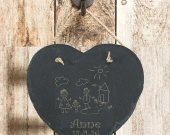Father's Day Gift Preserving Memories Of Childs 1st Drawing on Slate Hanging HeartKeepsake Plaque Gift