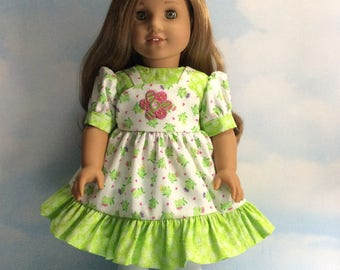 "Green pink princess frogs bib dress for 18"" dolls"