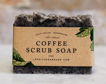 Coffee scrub soap, scrub soap, coffee scrub, all skin types soap, vegan coffee soap, homemade soap, natural soap, spa soap, cleansing soap