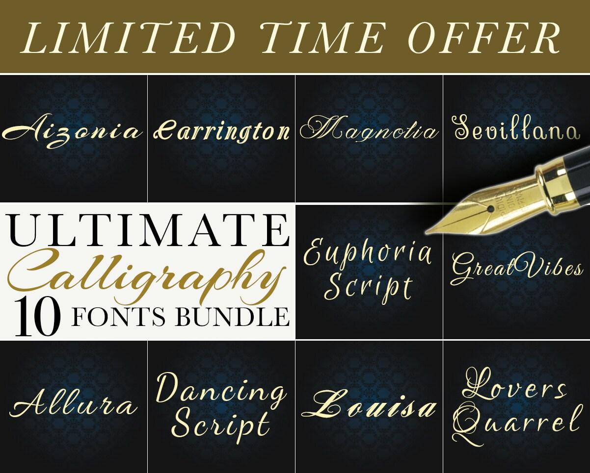 Cursive fonts svg bundle script calligraphy alphabet