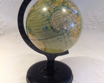 """RESERVED for SP - Vintage world Globe """"Reliables Series"""" metal - graduation - geographer gift or student / / made in England"""