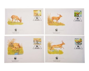Vintage Set 4 Items WWF Envelope First Day Cancellation Botswana Red Lechwe Collectables 1988