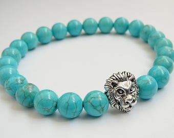 Lion bracelet Natural Howlite bracelet for men gift lion jewelry Stretch beaded turquoise bracelet for mens jewelry Lion head bracelet