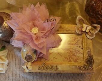 Keepsake box, glass photo frame, jewellery, box, chic, memory box, gift, trinket box, steampunk, romantic chest box, photograph